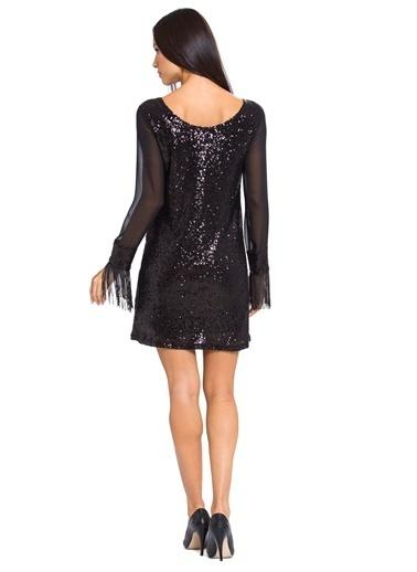 LC Waikiki Püskül Detaylı Payetli Elbise Siyah
